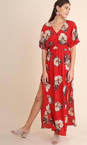 India Red Floral Kimono Maxi Dress - DRESSES - Affordable Boutique Fashion