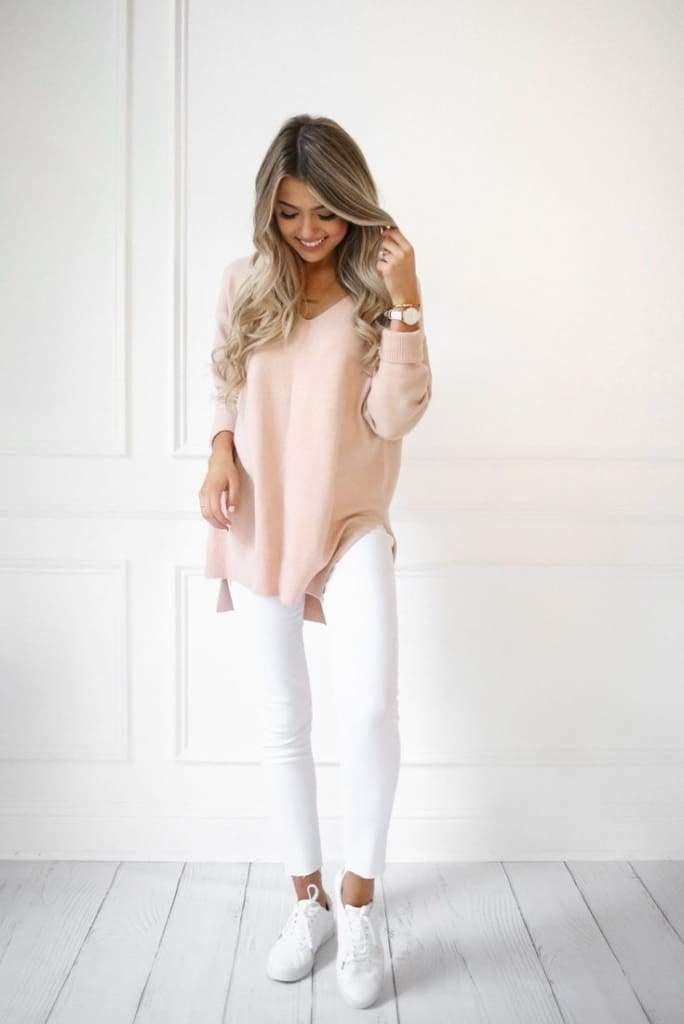Jasper Blush Sweater by DREAMERS - Tops - Affordable Boutique Fashion