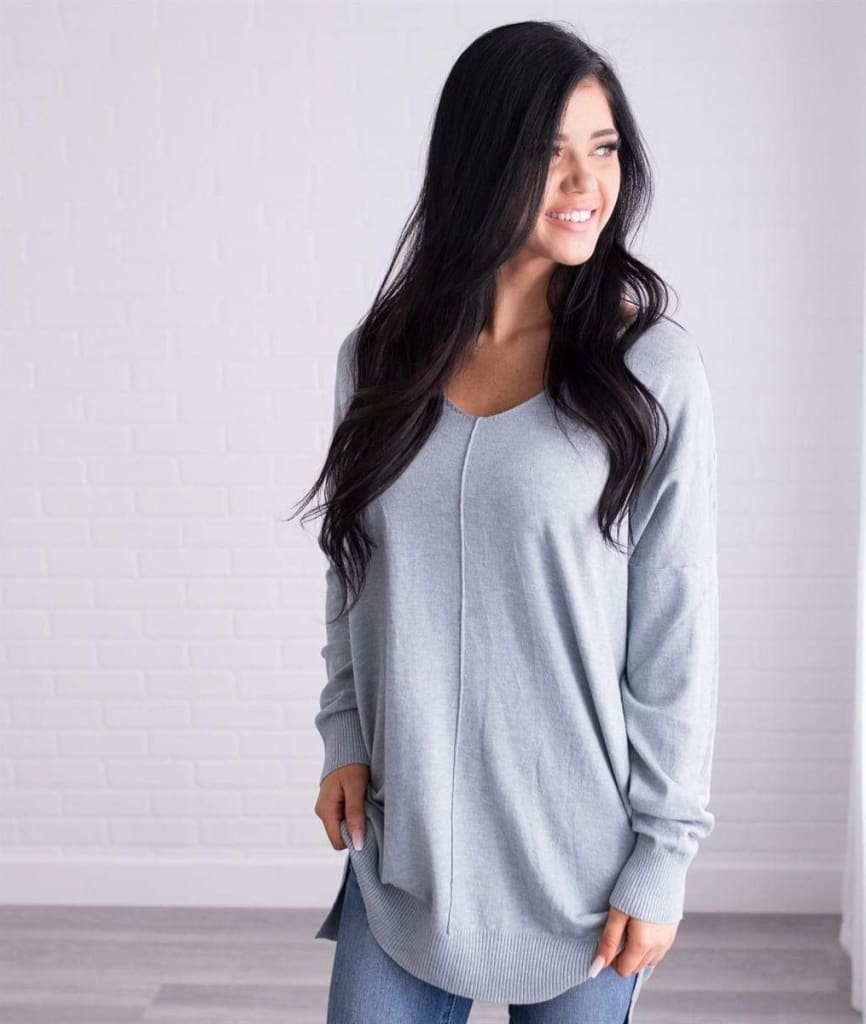 Jasper Grey Sweater by DREAMERS - Tops - Affordable Boutique Fashion