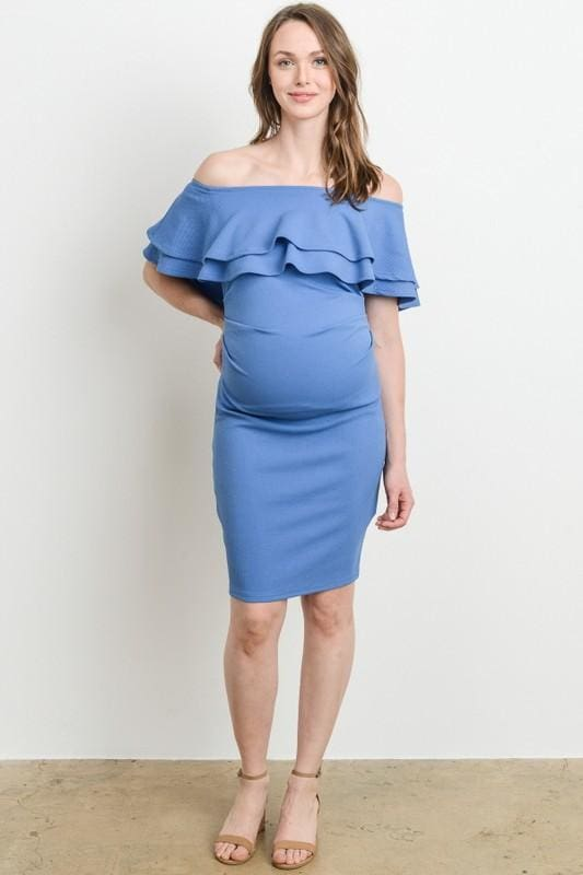 8ce0a1be0a1c Jesse Ruffle Off-Shoulder Maternity Dress - DRESSES - Affordable Boutique  Fashion. Jesse Ruffle Off-Shoulder Maternity Dress - DRESSES - Affordable  Boutique ...