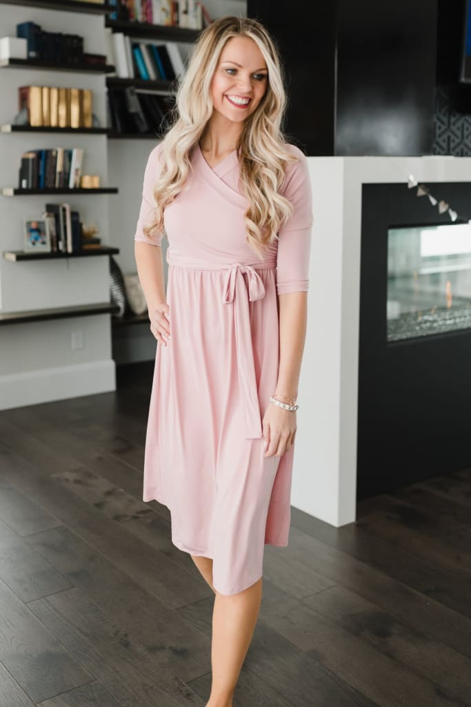 Jillian Wrap Dress - Mauve - Dresses - Affordable Boutique Fashion