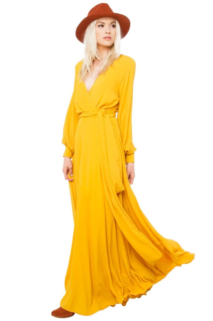Jonna Long Sleeve Wrap Maxi Dress | Fall Restock - DRESSES - Affordable Boutique Fashion