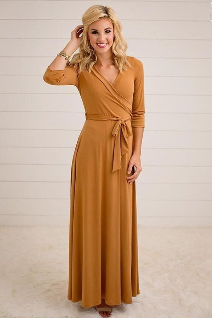 Jonna Wrap Dress | Mustard - DRESSES - Affordable Boutique Fashion
