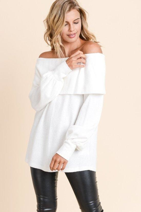 Jules Off Shoulder Sweater - SWEATER - Affordable Boutique Fashion