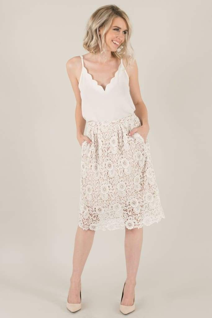 Julianna White Lace Midi Skirt - SKIRT - Affordable Boutique Fashion