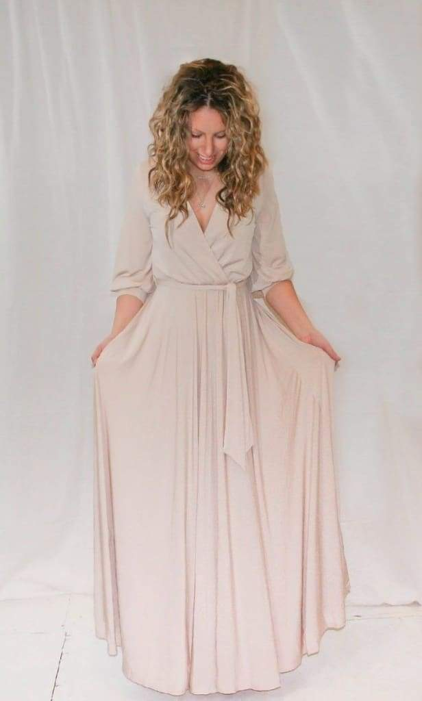 """Koi"" Faux Wrap Maxi Dress - Biscotti - DRESSES - Affordable Boutique Fashion"