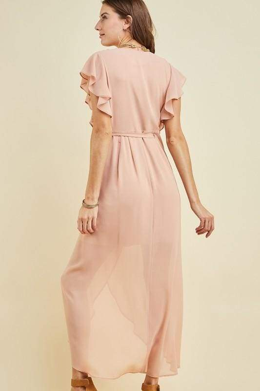 Kokomo Blush Wrap Maxi Dress - DRESSES - Affordable Boutique Fashion