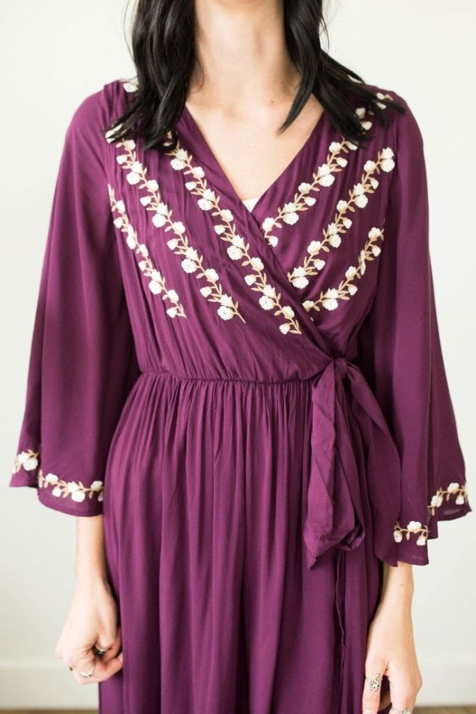 Kylee Embroidered Plum Maxi - Pre-Order - Affordable Boutique Fashion