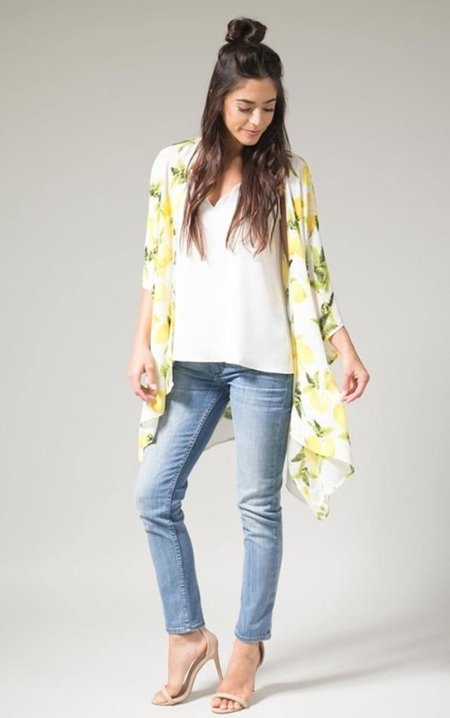 Lace & Lemondrops Print Kimono - Tops - Affordable Boutique Fashion