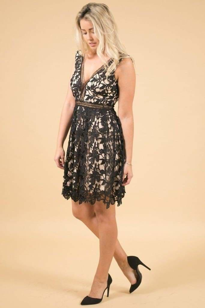 Lacey Fit & Flare Black Dress - Dresses - Affordable Boutique Fashion