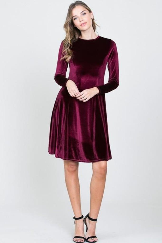 Lap of Luxury Velvet Dress | Burgundy - DRESSES - Affordable Boutique Fashion