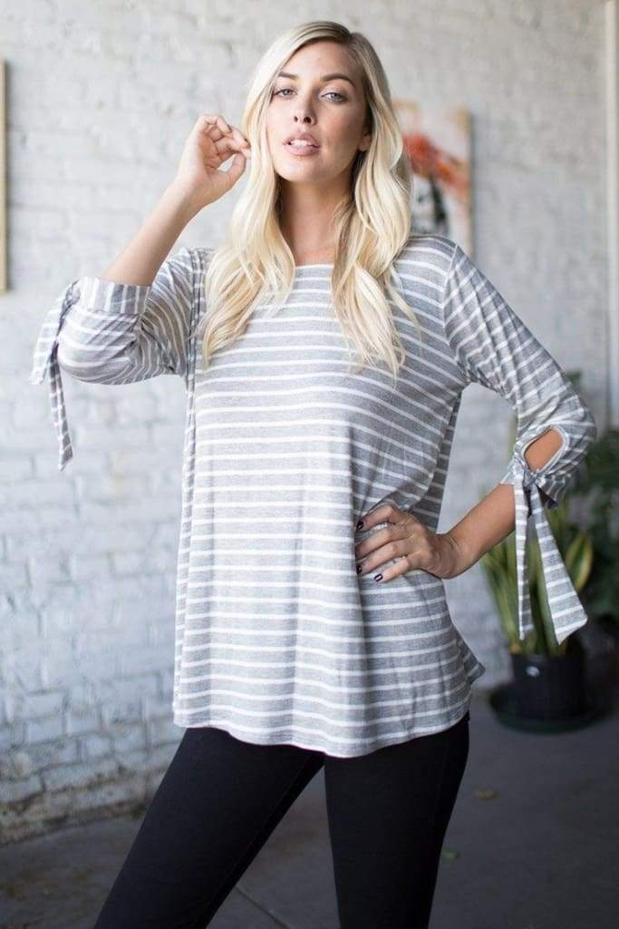 Leo Grey Striped Knit - Tops - Affordable Boutique Fashion