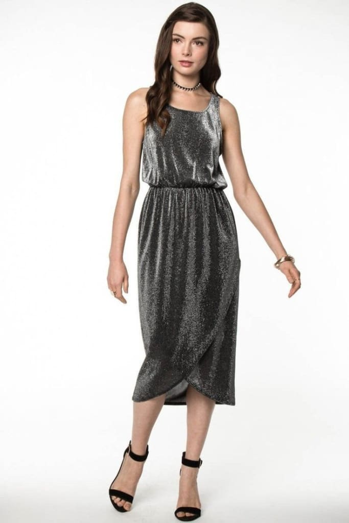 Lime Light Metallic Midi by EVERLY - DRESSES - Affordable Boutique Fashion