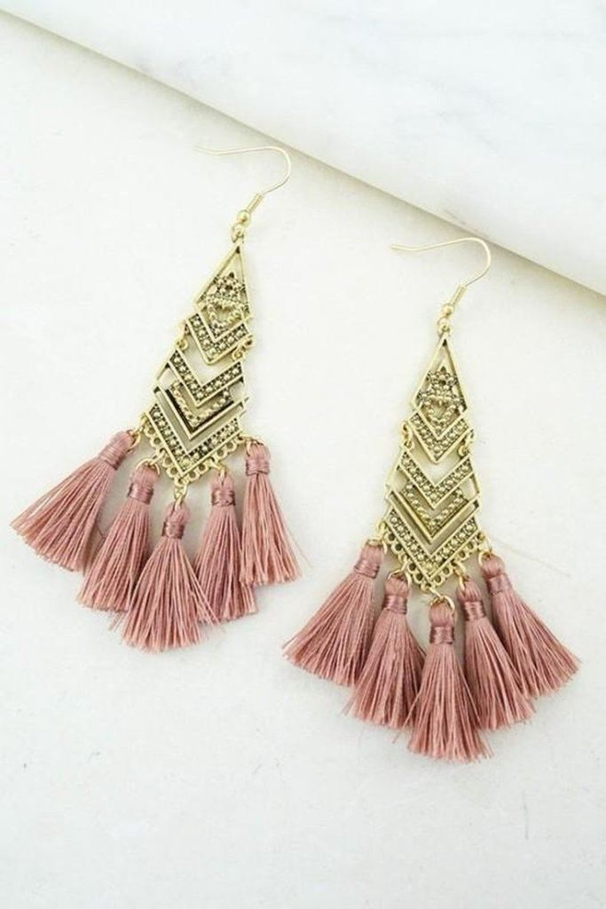 Linear Chevron Tassel Earring - Mauve -  - Affordable Boutique Fashion