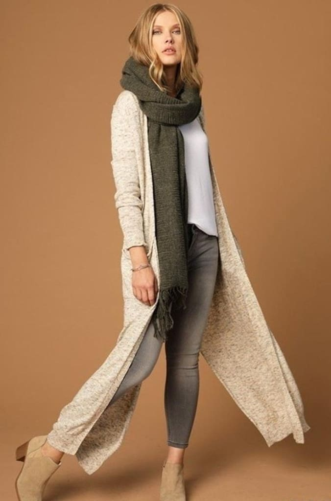 Linnera Olive Knit Blanket Scarf - Accessories - Affordable Boutique Fashion