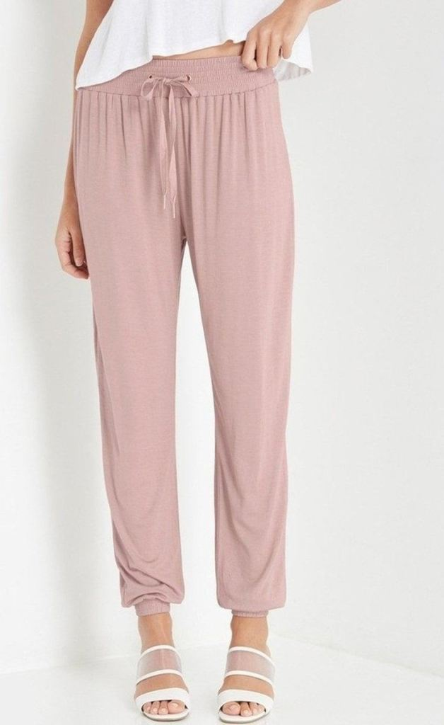 Liya Dusty Blush Joggers - BOTTOMS - Affordable Boutique Fashion