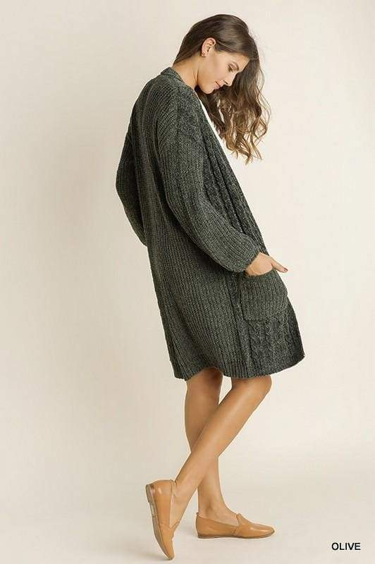 London Olive Chenille Cardigan - Sweaters - Affordable Boutique Fashion