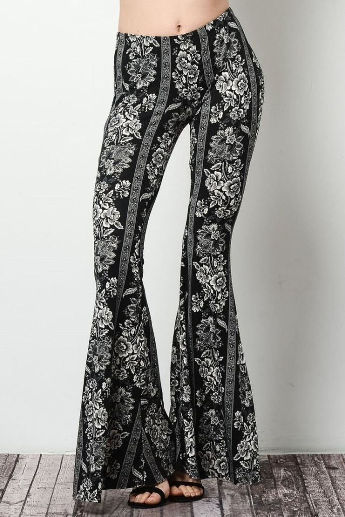 Lucky Duck Boho Bell Bottoms in Bandit - Bottoms - Affordable Boutique Fashion