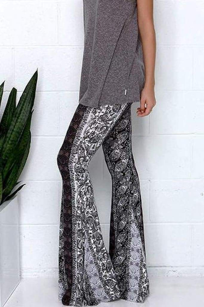 Lucky Duck Boho Bell Bottoms in Smokey Mountain - Bottoms - Affordable Boutique Fashion