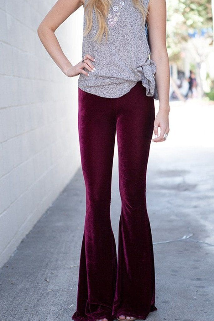 Lucky Duck Burgundy Velvet Bell Bottom Lounge Pants - Bottoms - Affordable Boutique Fashion