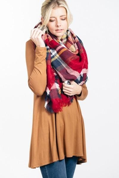 Lucky Duck Pretty in Plaid Blanket Scarf in Burgundy - Accessories - Affordable Boutique Fashion