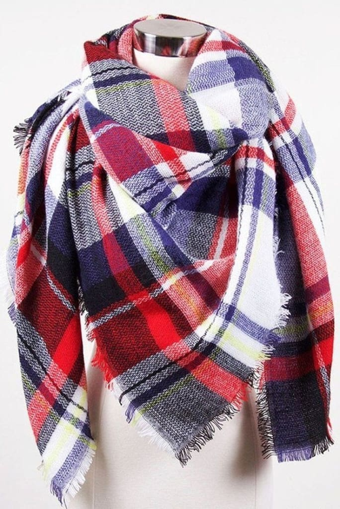 Lucky Duck Pretty in Plaid Blanket Scarf - Plaid Prep - Accessories - Affordable Boutique Fashion