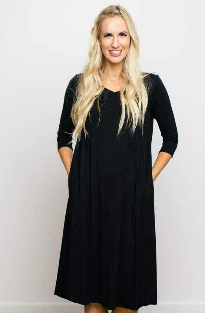 Lucky MOM Black Midi Nursing Dress - Tops - Affordable Boutique Fashion