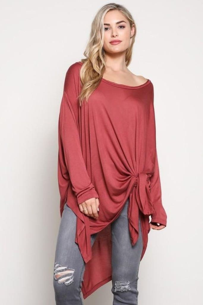 Lumi Comfy Tunic - Ruby - SWEATER - Affordable Boutique Fashion