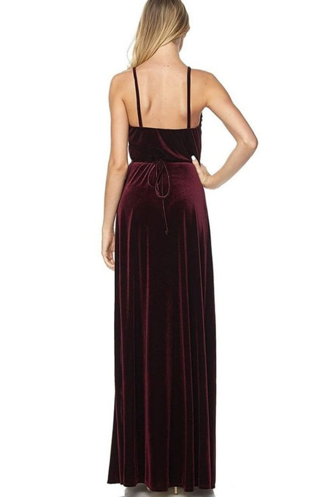 Luxury Awaits Burgundy Velvet Wrap Maxi Dress - DRESSES - Affordable Boutique Fashion