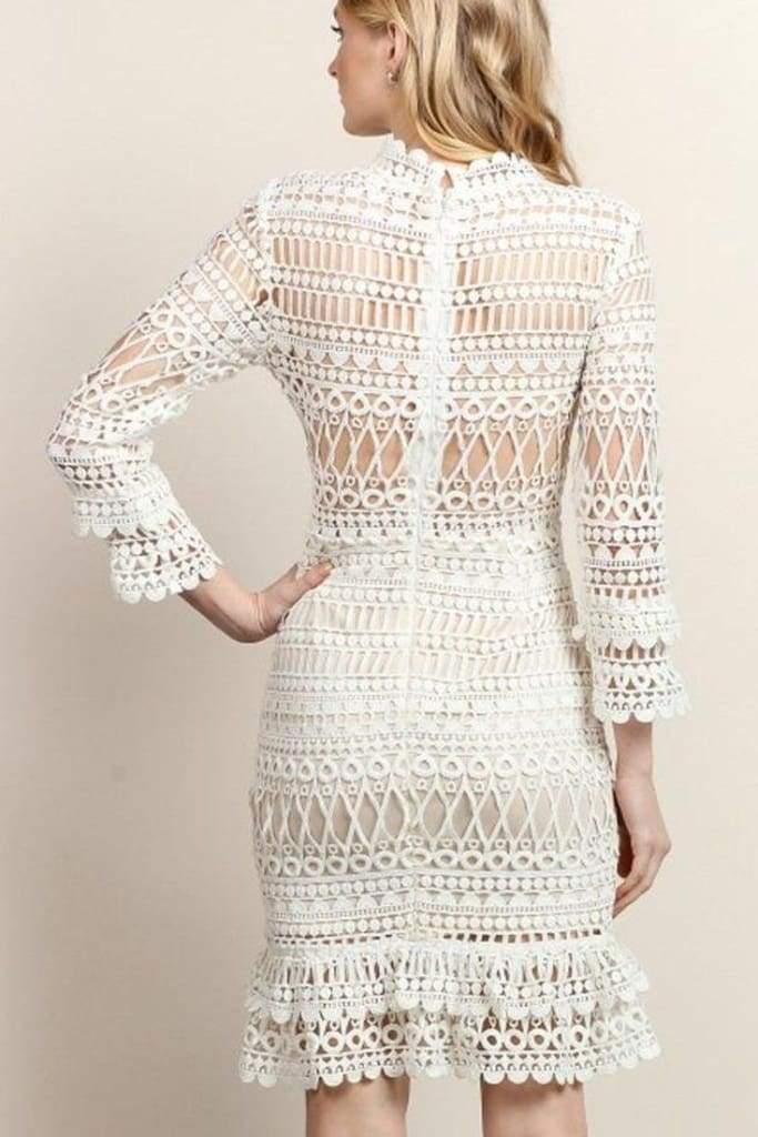 Mademoiselle White Crochet Lace Dress - Dresses - Affordable Boutique Fashion