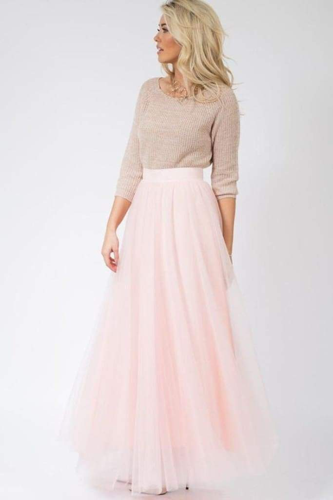 Magic in Manhattan Tulle Maxi Skirt - Blush - SKIRT - Affordable Boutique Fashion