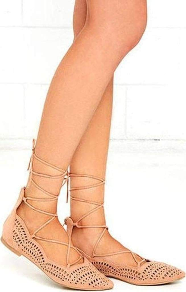 Makin' Me Blush Pointed Toe Lace Up Flats . - SHOES - Affordable Boutique Fashion