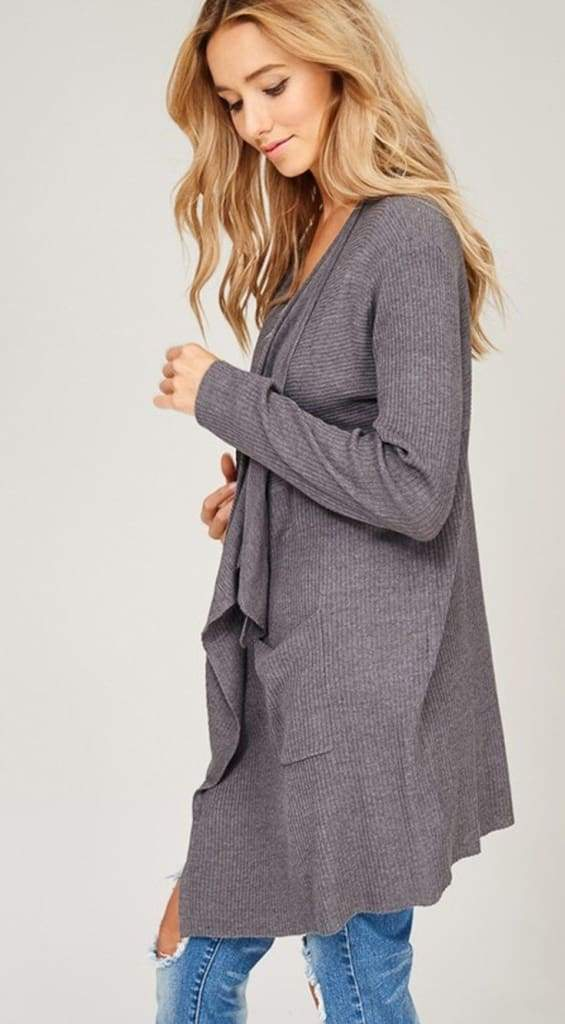 Manifesto Charcoal Knit Cardigan - - Sweaters - Affordable Boutique Fashion