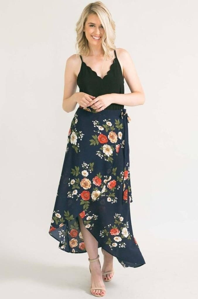 Mara Floral Wrap Skirt - Bottoms - Affordable Boutique Fashion