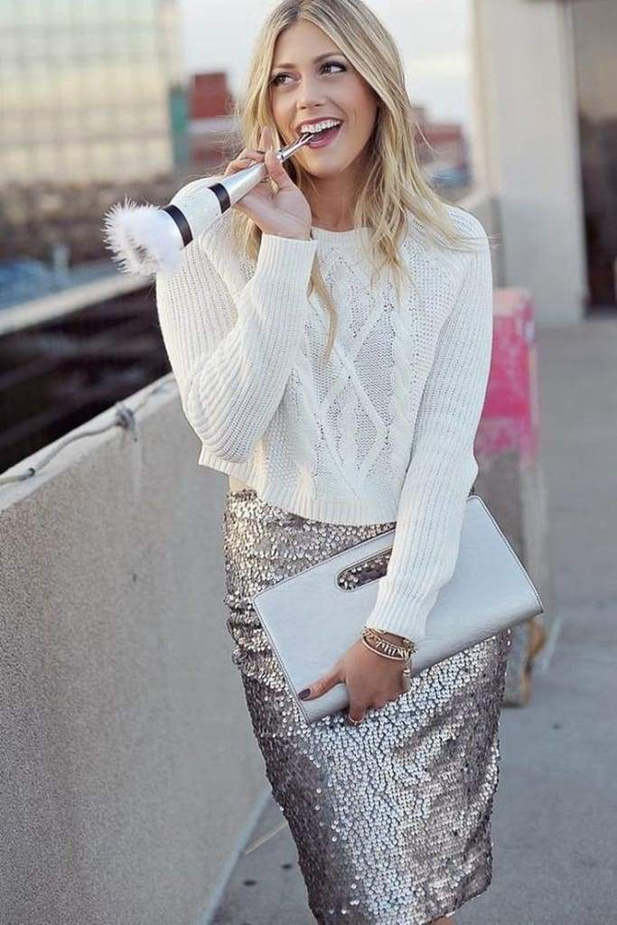 Marilyn Sequin Pencil Skirt - - SKIRT - Affordable Boutique Fashion