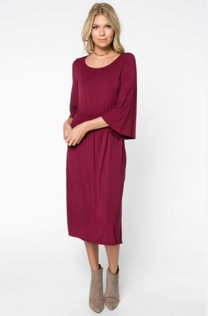 Maya 3/4 Bell Sleeve Midi Dress by EVERLY - DRESSES - Affordable Boutique Fashion