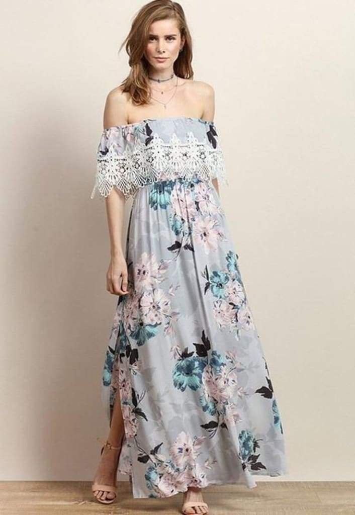 """Mayfield"" Dusty Grey Floral Maxi Dress - DRESSES - Affordable Boutique Fashion"