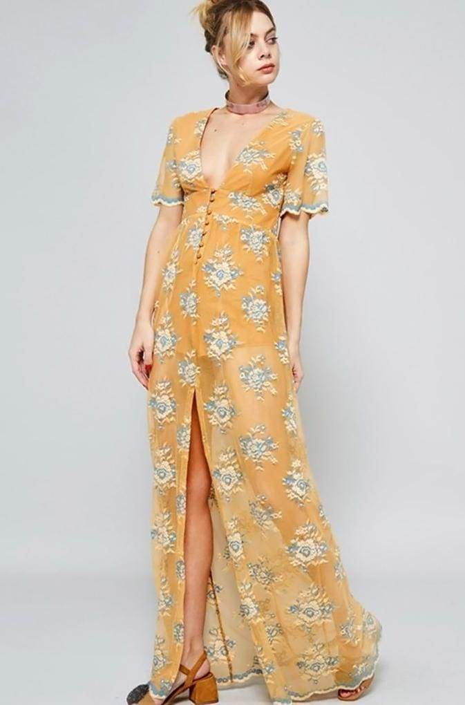 Mecca Mustard & Blue Lace Maxi Dress ! - Dresses - Affordable Boutique Fashion