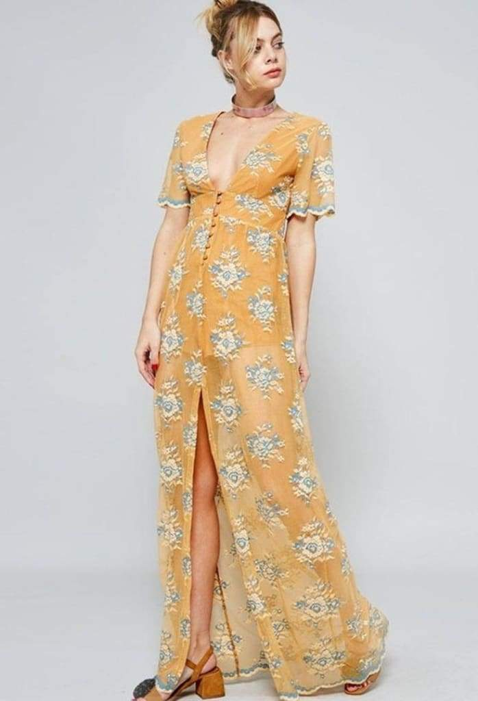 Mecca Mustard & Blue Lace Maxi Dress . - Dresses - Affordable Boutique Fashion