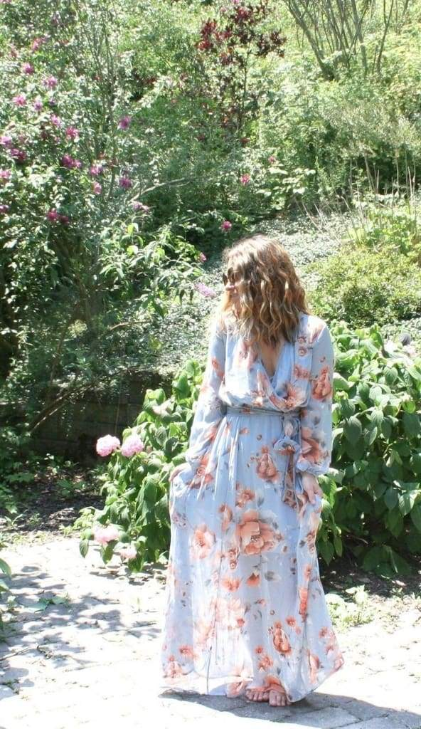 """Meesh"" Blue Blossom Wrap Maxi Dress - DRESSES - Affordable Boutique Fashion"