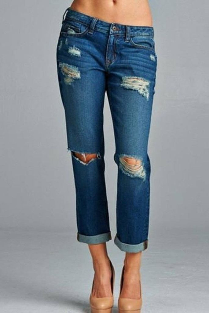 Meredith Boyfriend Jean in Dark Stone Wash - Bottoms - Affordable Boutique Fashion