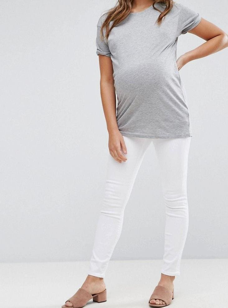 """Miami"" White Maternity Skinnies - BOTTOMS - Affordable Boutique Fashion"