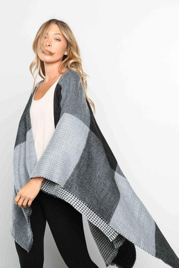 Miles Reversible Houndstooth Poncho - poncho - Affordable Boutique Fashion