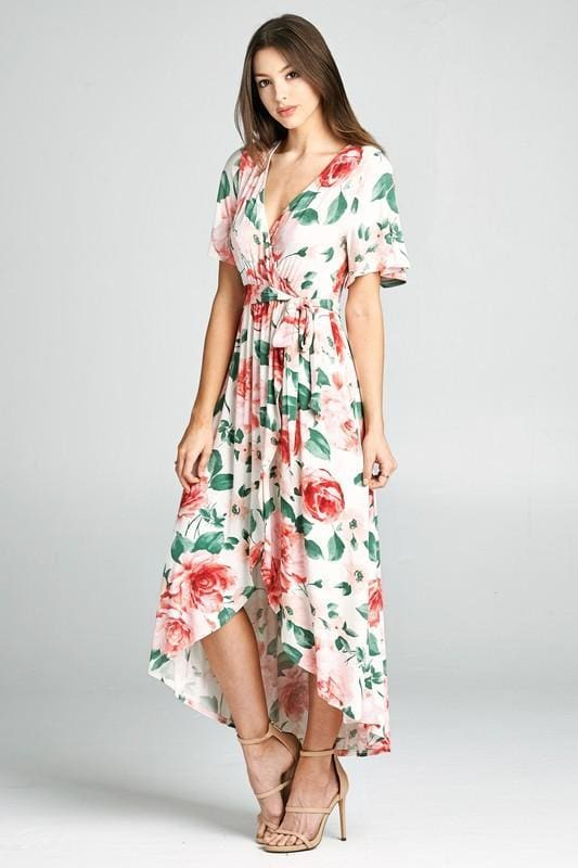 MimsyFloral Wrap Maxi | Ivory - DRESSES - Affordable Boutique Fashion