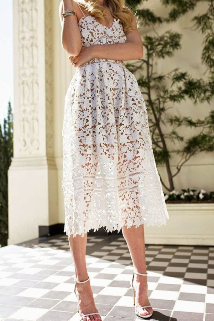 """Minka"" White Crochet Lace Fit and Flare Midi Dress - DRESSES - Affordable Boutique Fashion"