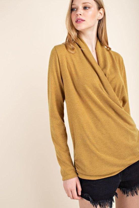 Mirad Drape Front Knit - TOPS - Affordable Boutique Fashion
