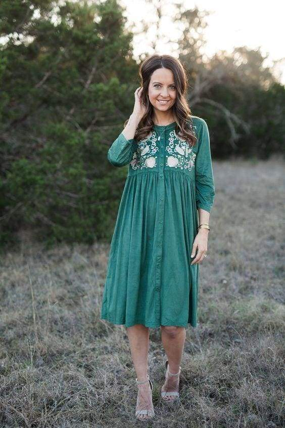 Mockingbird Embroidered Midi Dress In Evergreen - Dresses