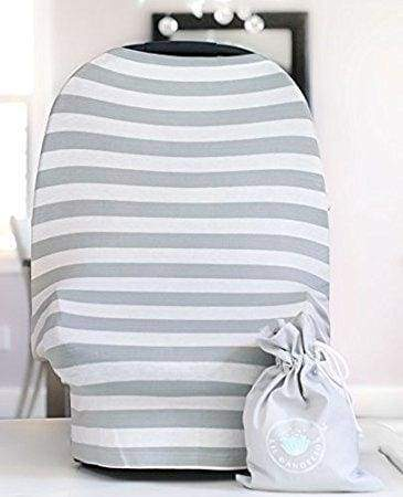 MOM Grey + White Stripe Nursing Scarf - Accessories - Affordable Boutique Fashion