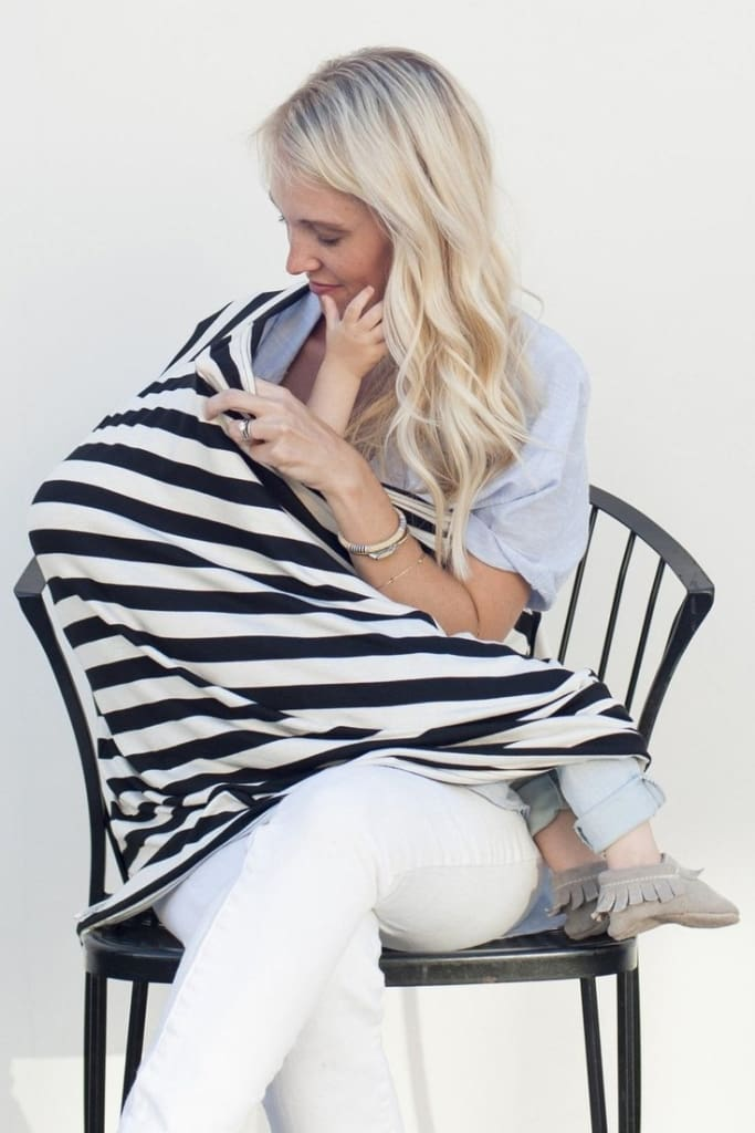 MOM Thick Stripe Nursing Scarf - Black Stripes - Accessories - Affordable Boutique Fashion