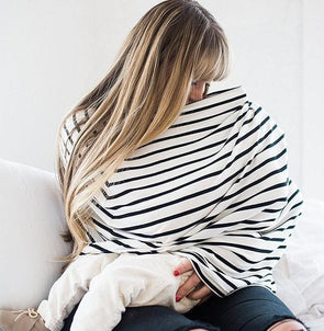 MOM White & Black Stripe Nursing Scarf - Accessories - Affordable Boutique Fashion